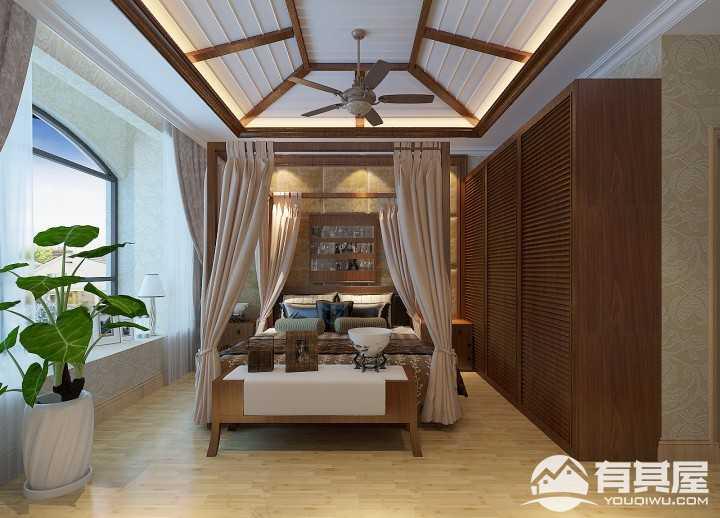 颐和山庄东南亚风格复式装修效果图