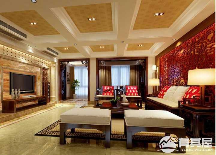 熙园山院四居室现代中式风格家装设计效果图