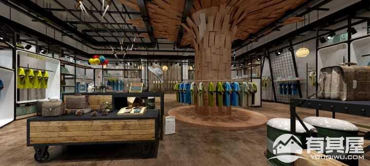 工业风服装店装修效果图设计案例