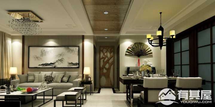 上林風景新中式風格三居室裝修設計