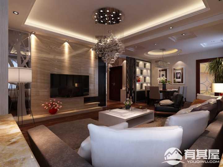 上城国际140平米现代风格三居室装修案例