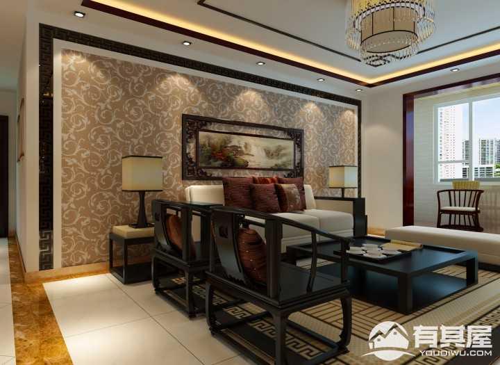 临朐盛世家园三室两厅新中式装修效果图