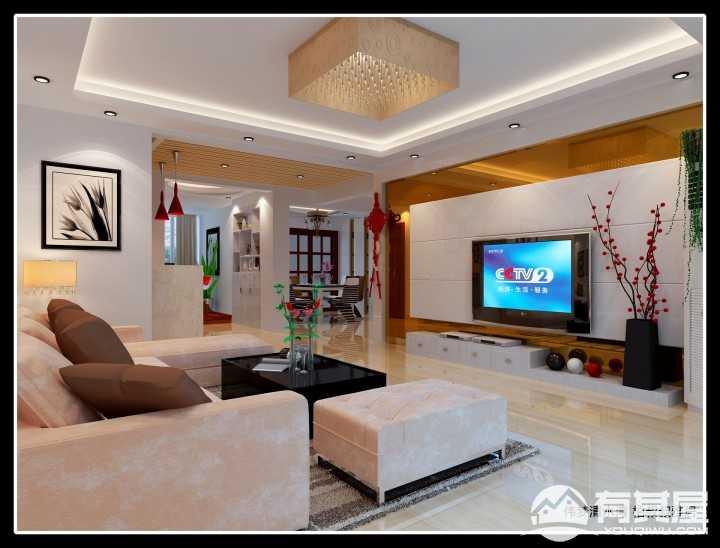 伟梦清水湾现代风格三居室装修效果图