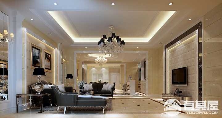 金河谷135平简欧风格三居室装修效果图