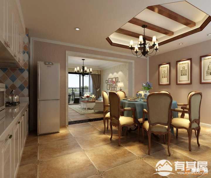 中铁逸都法式风格三室一厅装修案例