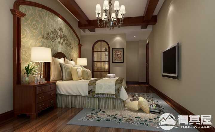 龙湾国际美式风格131平三居室装修效果图