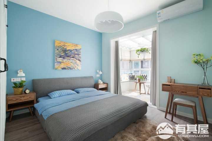 纷蓝北欧现代风格三居室装修图片