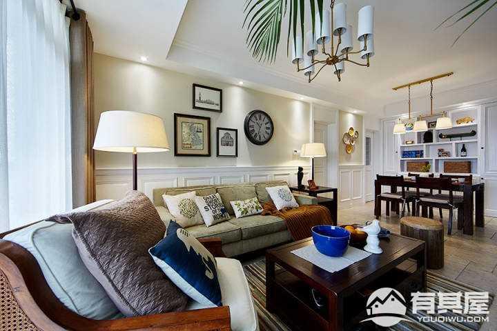 简单淳朴简约美式风格四居室装修图
