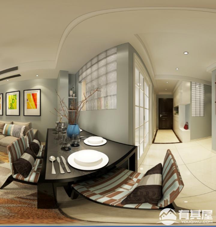 新榕金城湾三居室现代简约装修设计