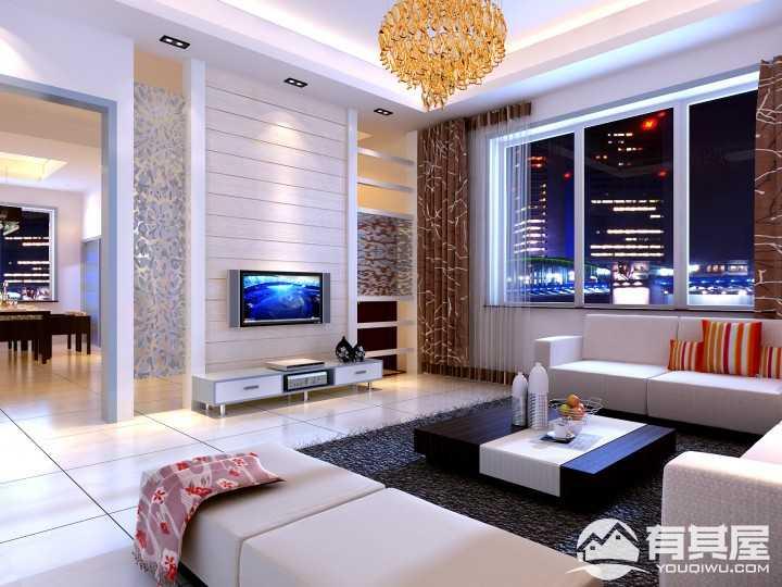 金域蓝湾现代简约三居室装修效果图