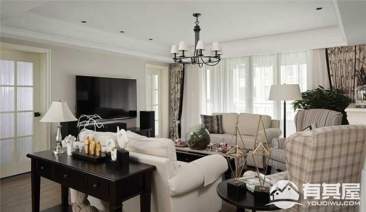 时尚开放美式风格三居室装修效果图