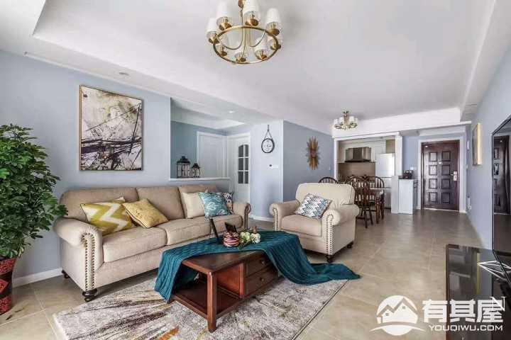 蓝色小调轻美风格三居室装修设计