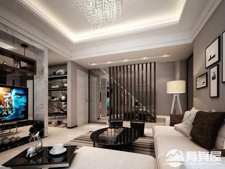 三乡雅居乐现代风格复式客厅效果图