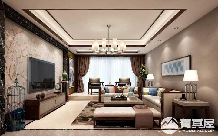 珠宾花园新中式三居室装修案例