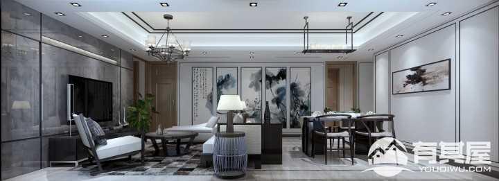 金域蓝湾三居新中式家装效果图设计