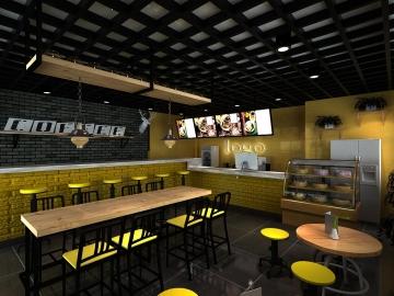 五彩城小型甜品厅loft风格装修效果图