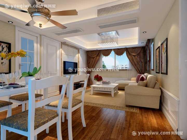 龙臣公寓100㎡三房二厅混搭装修设计案例
