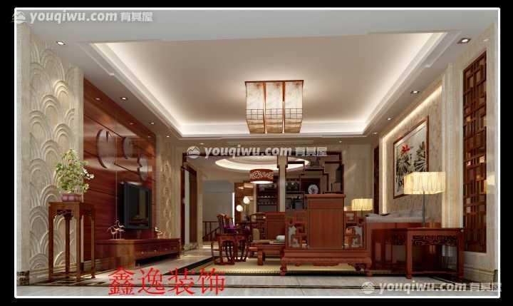 梅州客天下荷塘夜色般的三居室中式风格设计案例