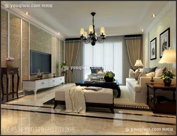 金都美地欧式风格二居室雅居装修效果图