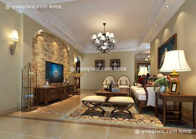 滨海国际大气的美式乡村风格四居室装修设计案例