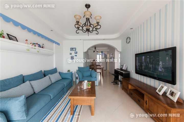 保利香槟国际140平地中海风三居室装修设计案例