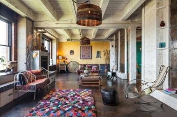 阳光100阿尔勒充满神秘色彩复古调调的工业混搭风格复式楼装修设计案例