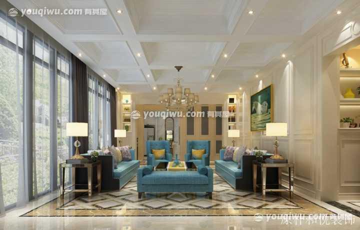 绿城玫瑰园430平欧式风格别墅装修效果图