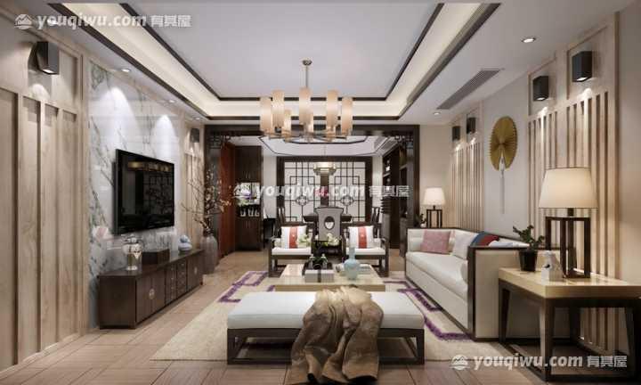 宜家华府三居室新中式风格装修案例