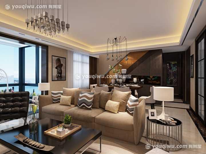 景瑞上府三居室现代风格装修效果图