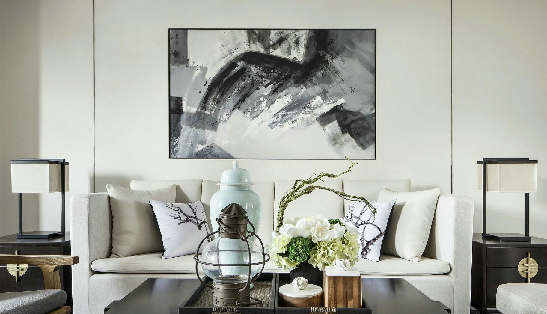 130㎡新中式三居室,清新淡雅如泼墨山水画