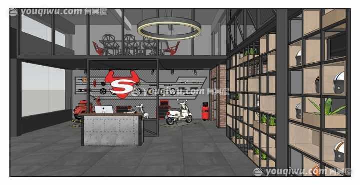 金山小牛电动车专营店工业风工装设计方案