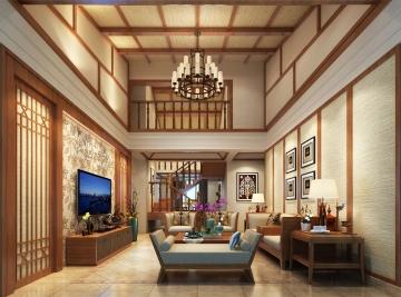 蔚蓝海岸别墅中式风格装修效果图