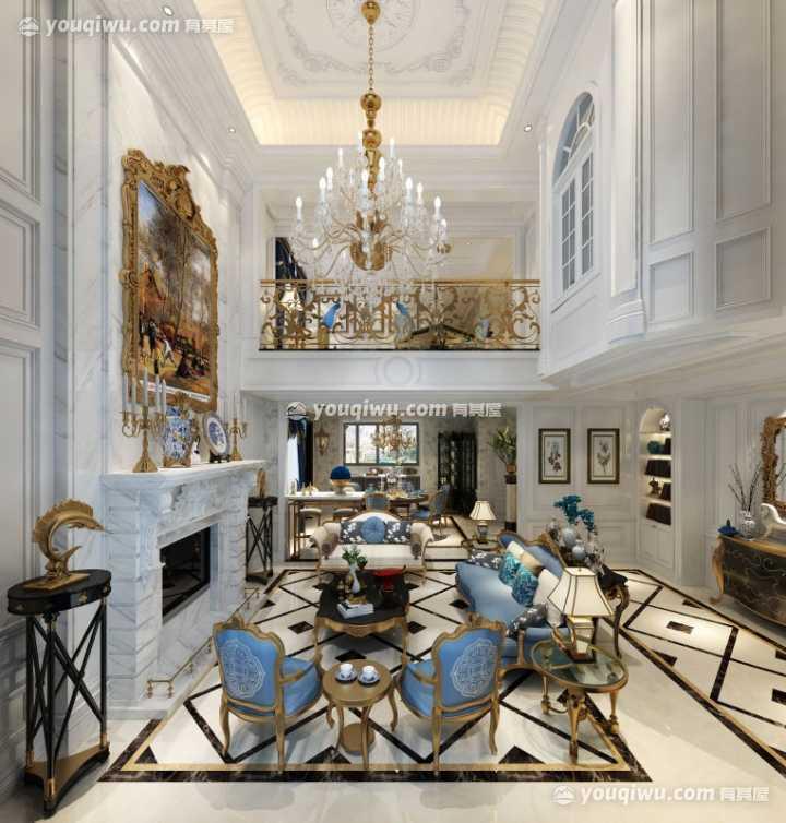 别墅观止250平米法式风格装修效果图
