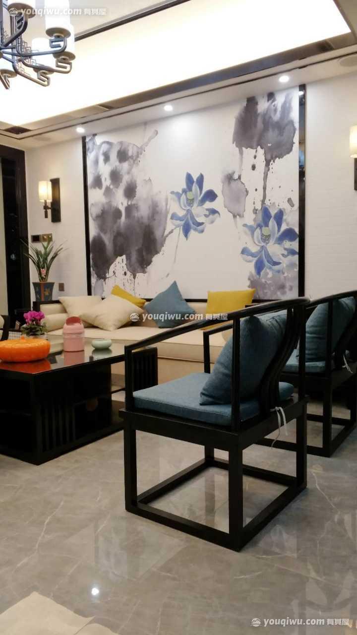 明亮大方新中式风格四居室装修实景图