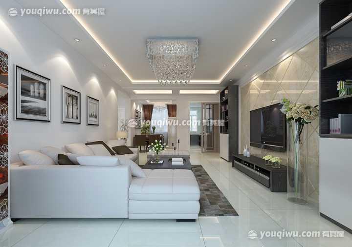 温馨家园现代简约风格两室一厅效果图