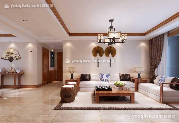 远洋山水三居室新中式风格装修效果图