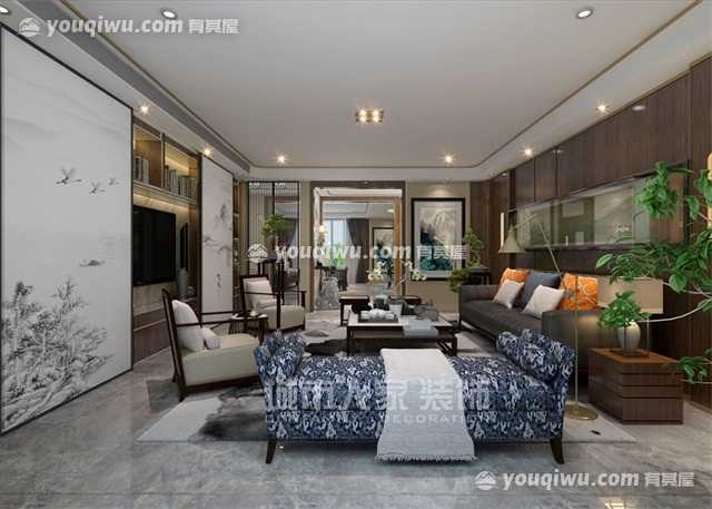 国金华府210平米户型新中式风格设计方案