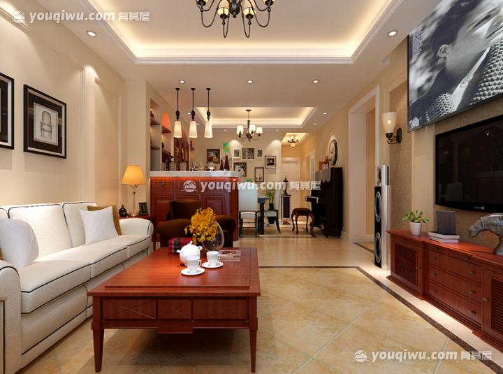 珠江绿洲120㎡三居室新中式风格