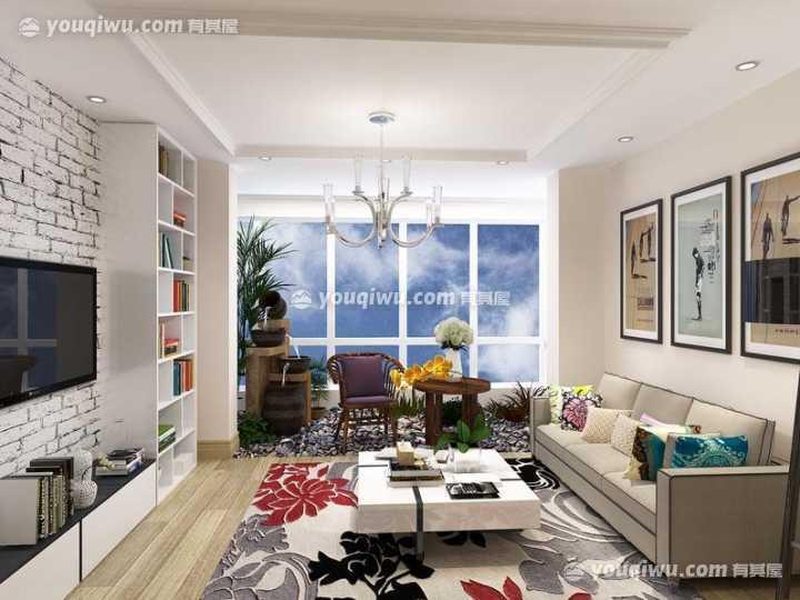 92平米二居室混搭风格装修案例