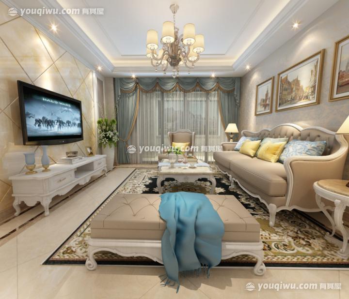 上城家园110平方米三室一厅室简欧风格装修效果图