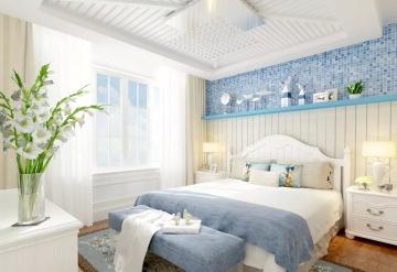 94㎡三室一厅地中海风格卧室装修效果图