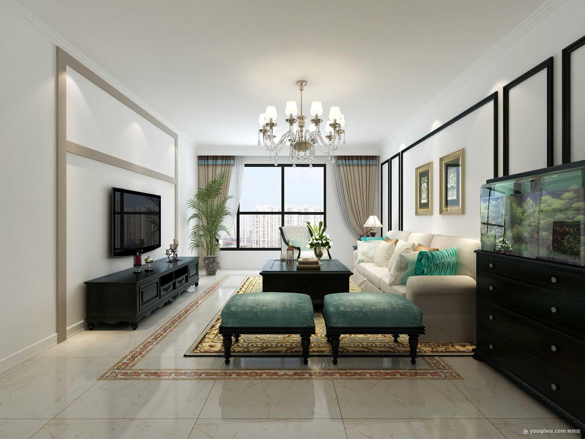 平谷香书湾二居室简欧风格装修效果图
