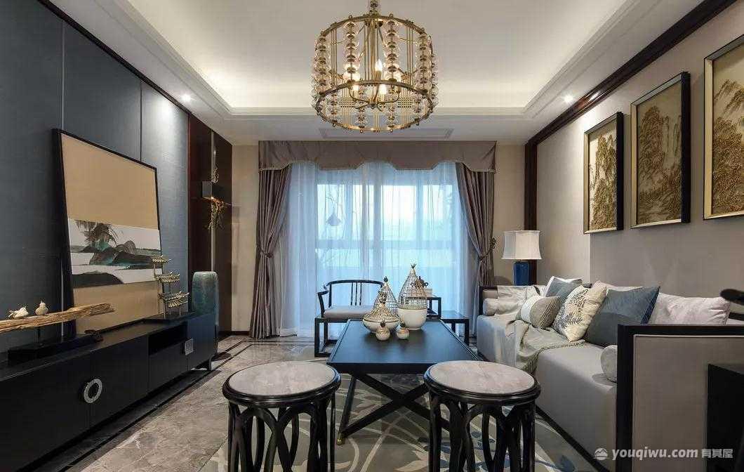 128平方米三居室新中式装修效果图
