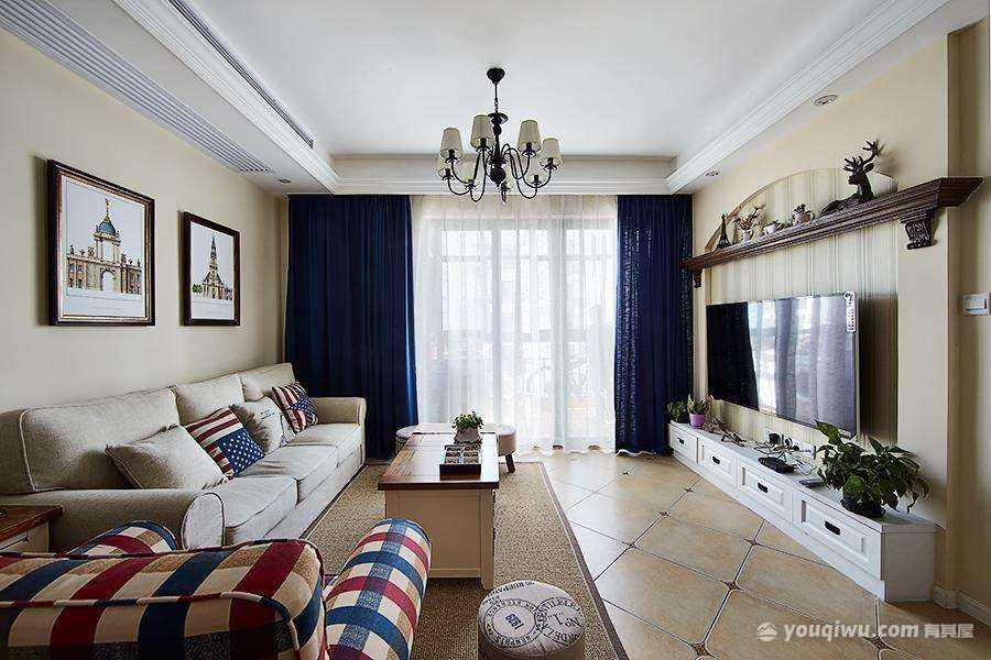 103平方米三居室地中海风格装修效果图