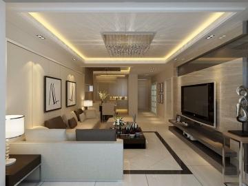 90平方米三居室客廳現代簡約裝修效果圖