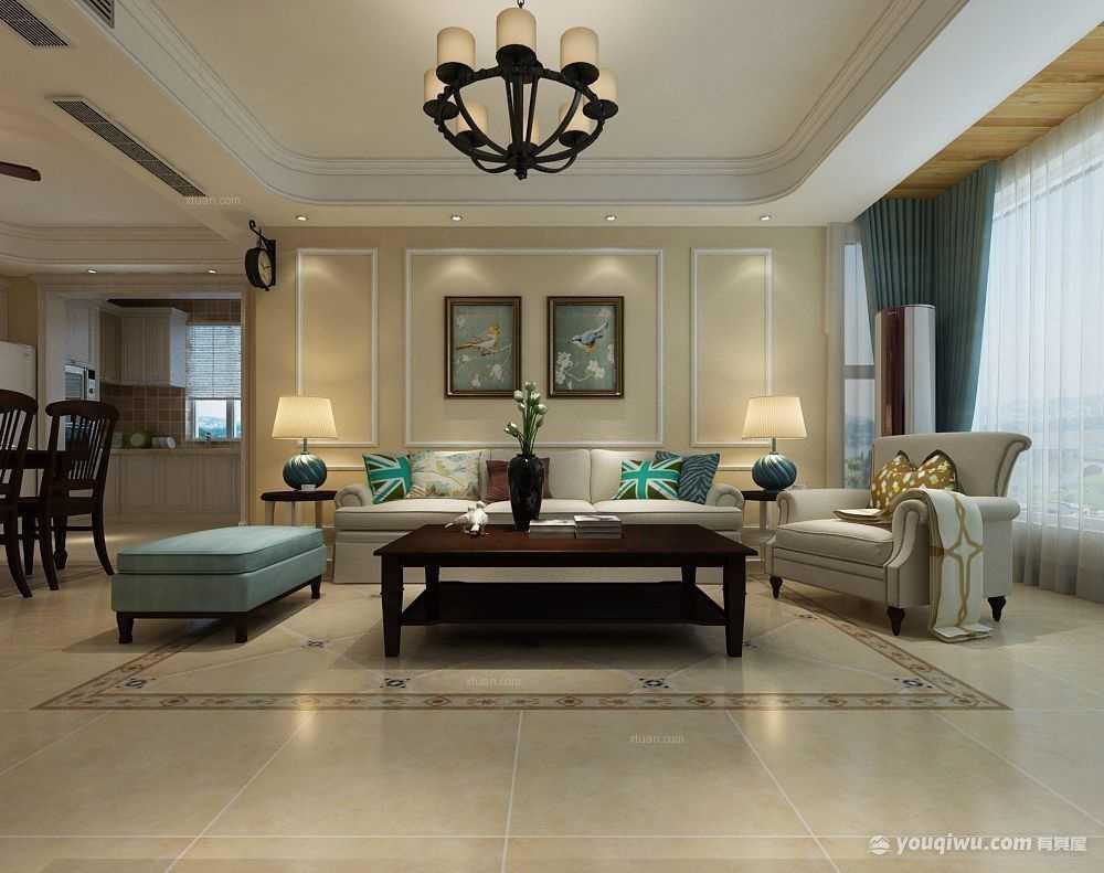 100平方米三居室客厅美式装修效果图