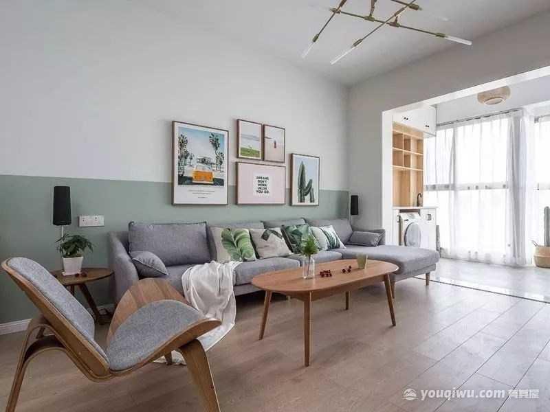 100平米清新北欧三居室沙发背景墙效果图