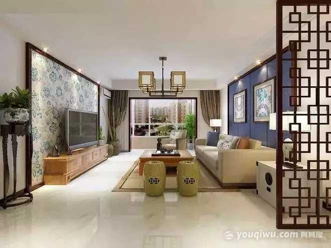 两江新宸120平米三居室中式风格装修效果图