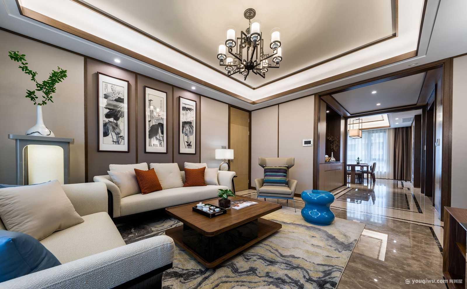 125平米三居室新中式风格装修效果图