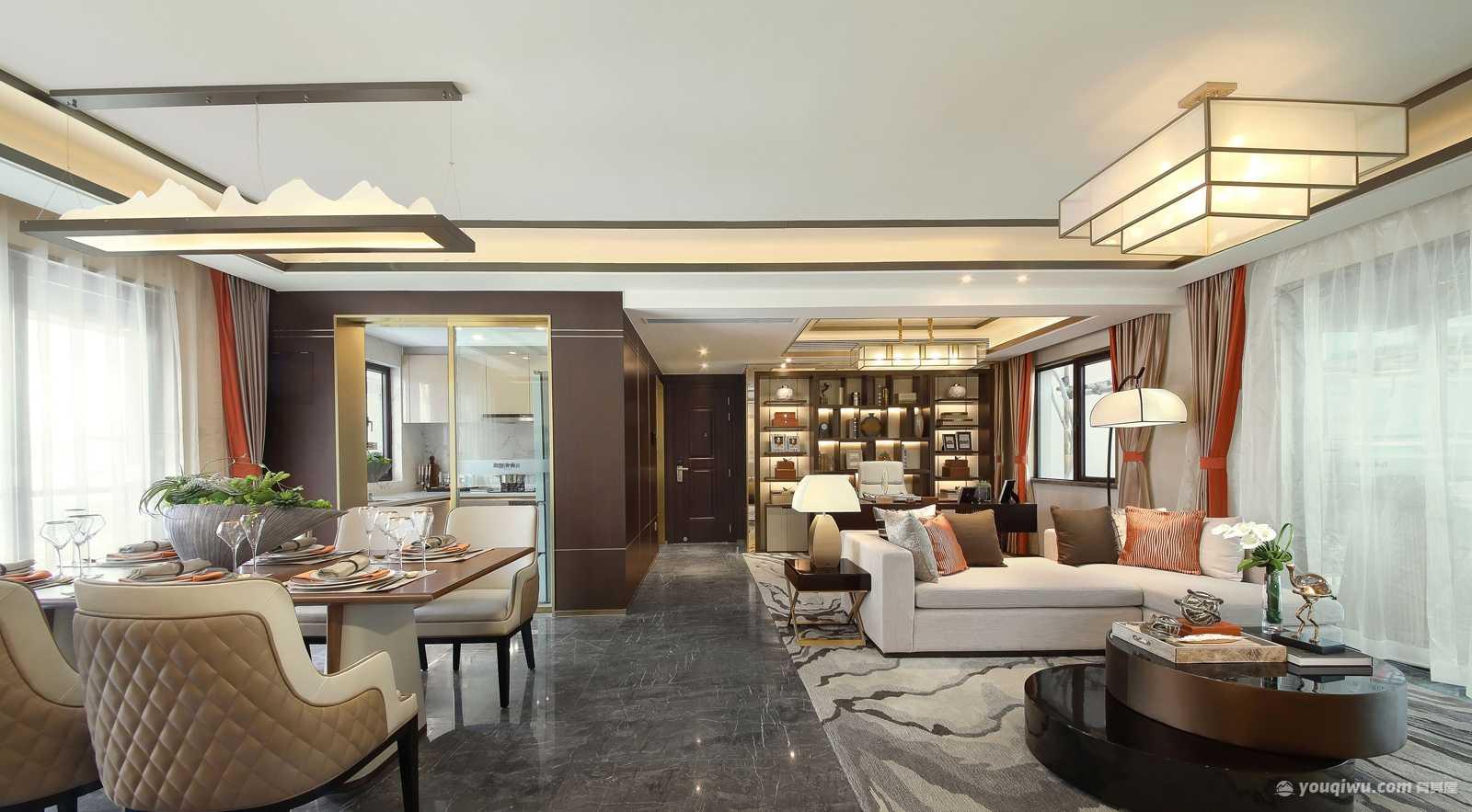 150平米三居室新中式风格装修效果图
